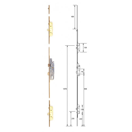 Agb Lever Operated Latch Amp Deadbolt 2 Hook 3 Roller